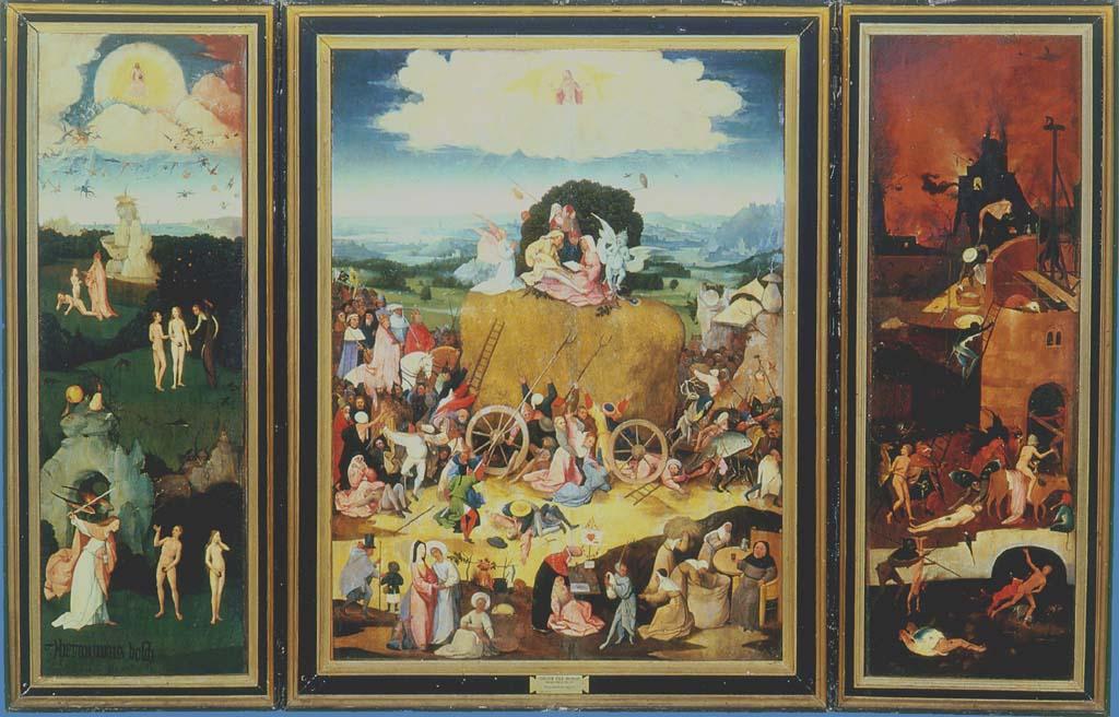 """Triptychon """"Der Heuwagen"""" von Hieronymus Bosch,"""