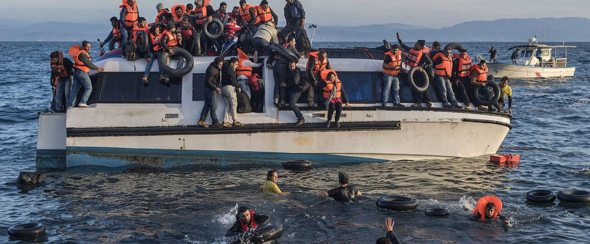 Syrians and Iraq refugees arrive at Skala Sykamias Lesbos Greece