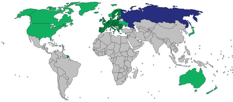 Weltkarte der Sanktionen Krimkrise