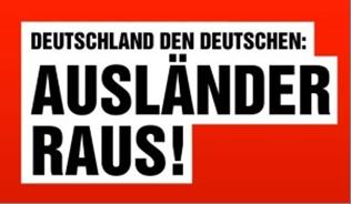 Schriftzug aus einem in Dortmund 2014 geklebten Wahlplakat der Partei Die Rechte.