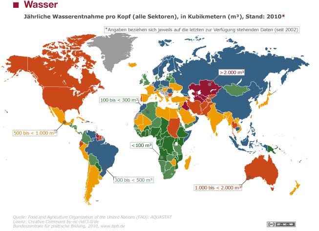 Weltkarte Wasserverbrauch