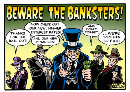 Beware of Banksters - Ein Comic, wlecher die Korruption von Bänkern darstellt.