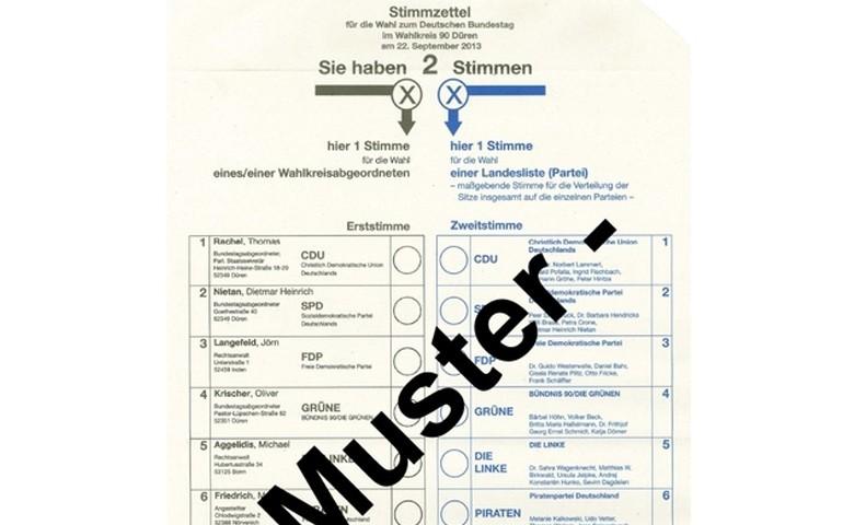 Musterwahlzettel Bundestagswahl 2013