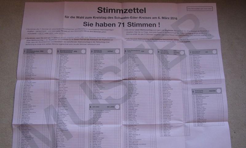 Musterstimmzettel Kommunalwahl Hessen 2016, Kreistag