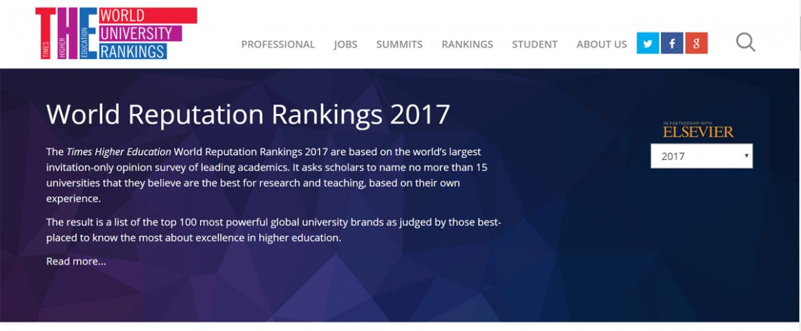 Website Times Higher Education World Reputation Rankings 2017