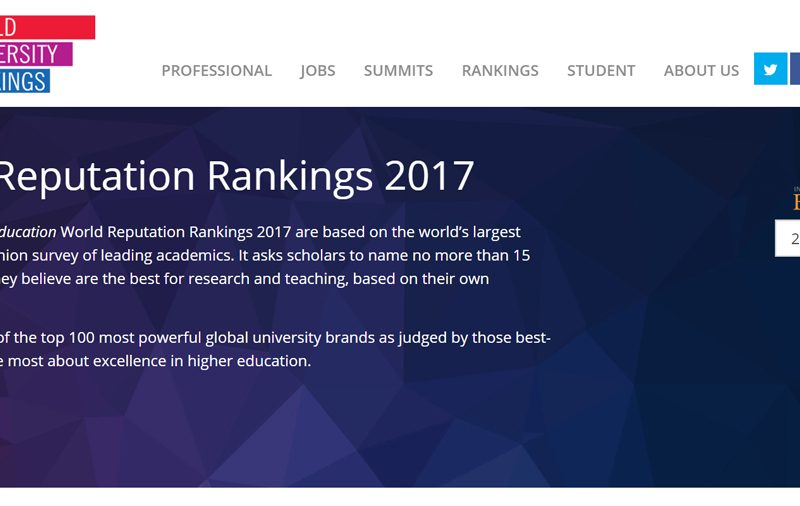 Website Times Higher Education World Reputation Rankings 2017