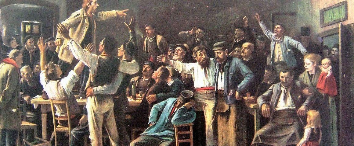 Streik, Gemäölde von Mihály von Munkácsy, 1895