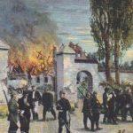 Zerstörung eines Franktireur-Dorfes in Flandern