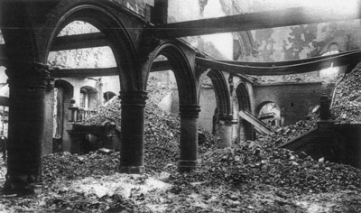 Zerstörte Universitätsbibliothek in Löwen/Louvain, Belgien 1914