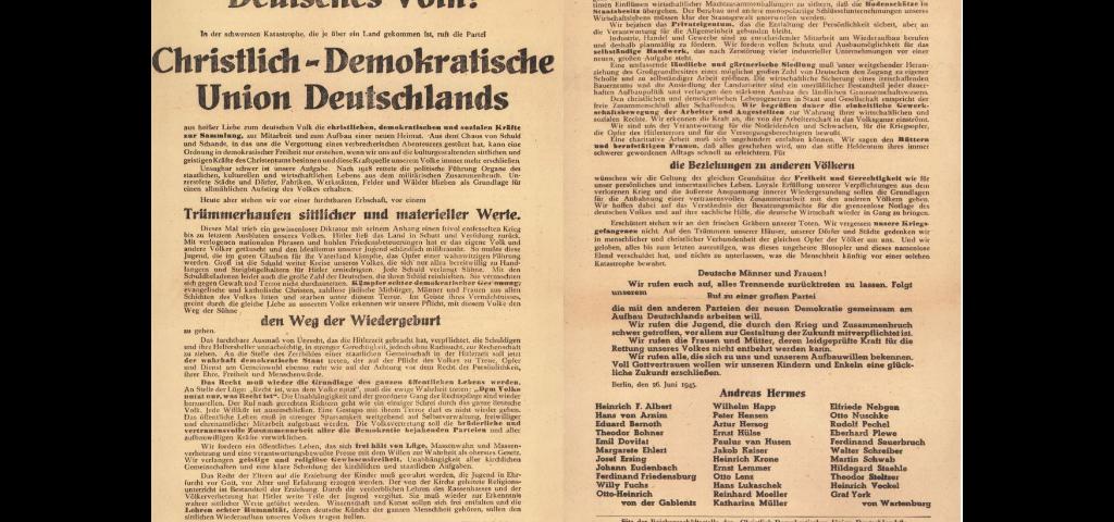 Gründungsaufruf der CDU am 26. Juni 1945 in Berlin