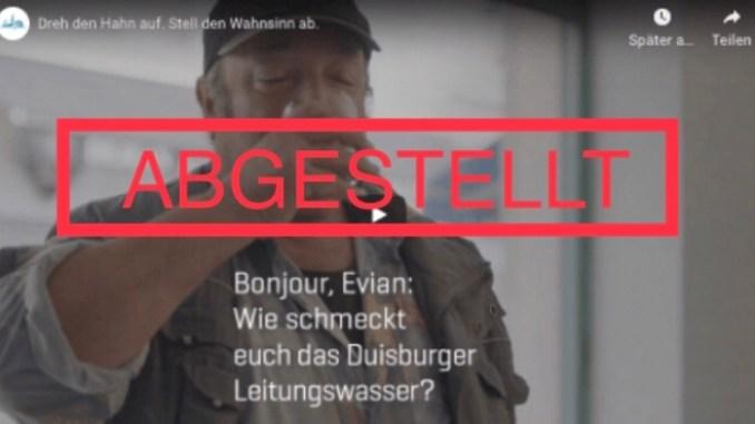 Screenshot Flaschenwasser-Kampagne der Stadtwerke Duisburg