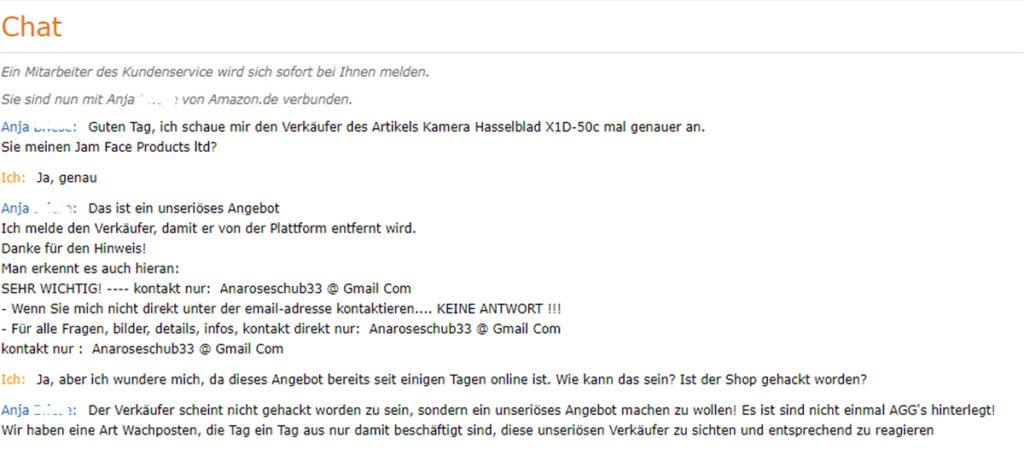 Chat-Protokoll mit dem Kundenservice von Amazon