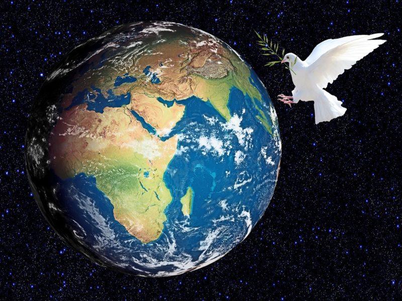 Erde -Friedenstaube
