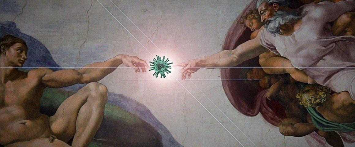 Pandemie - Erschaffung Adams von Michelangelo