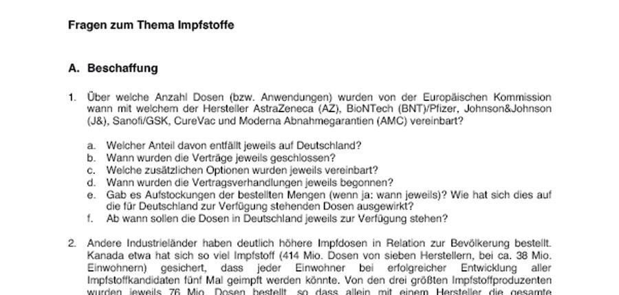 Fragenatalog an Jens Spahn