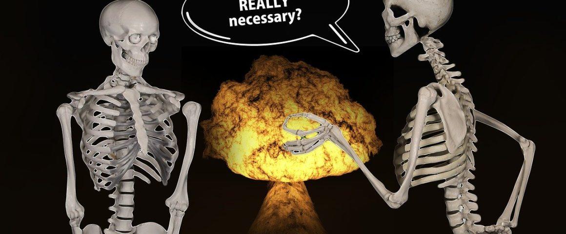 Atomexplosion und Skelette