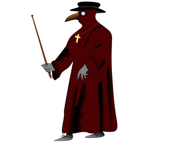 Mensch mit Pestschnabel und mittelalterlicher Kleidung