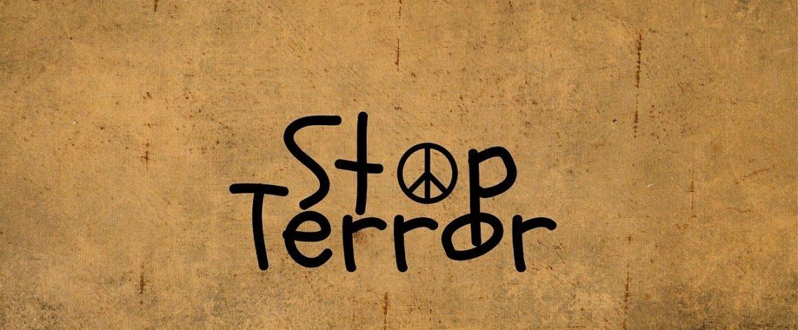 """Schild """"Stop Terror"""""""