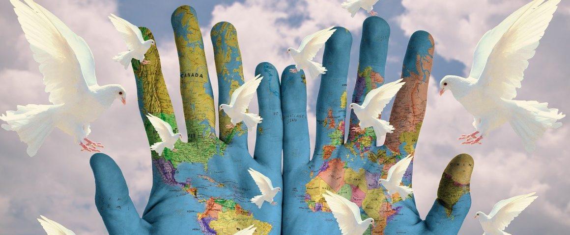 Hände mit weißen Tauben