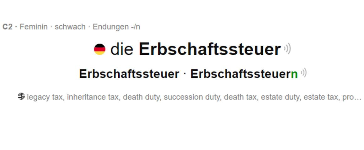 Erbschaftssteuer - Schriftzug