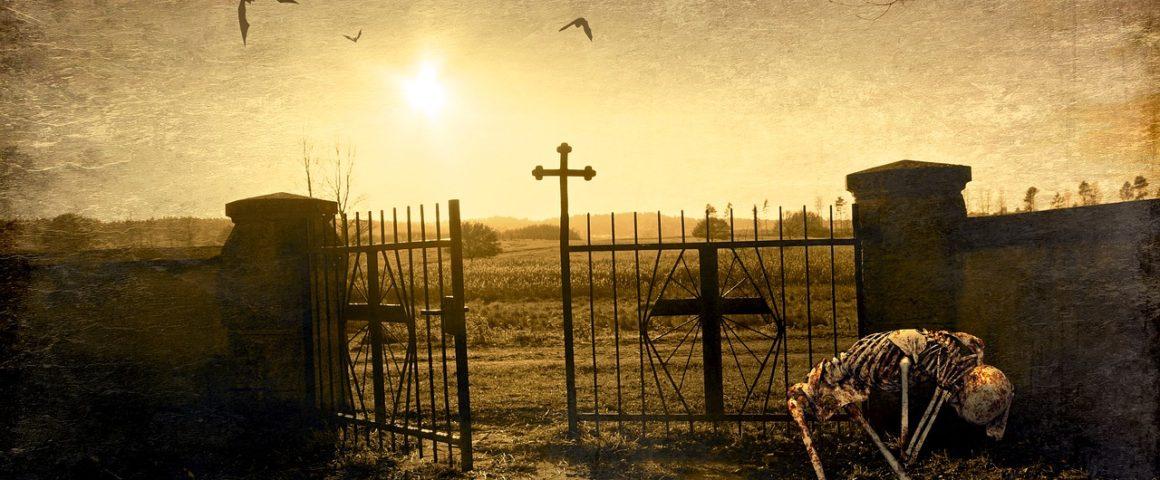 Friedhof mit Skelett - Fantasybild