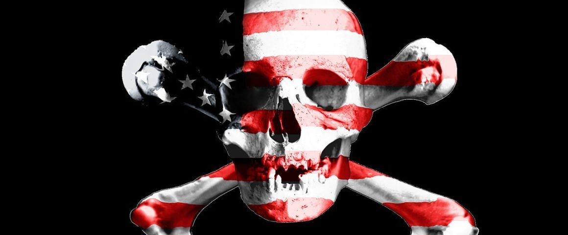 Totenkopf mit USA-Flaggenmuster