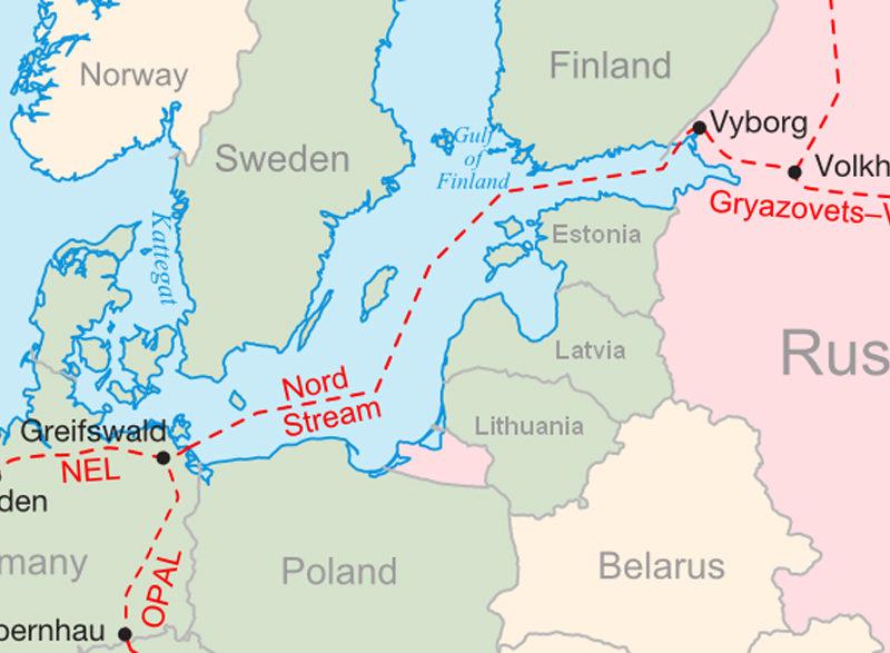 Karte Nord-Stream 2 Verlauf